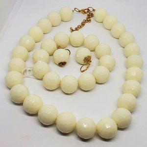 Set Of Large White Plastic Bead Gold Tone Jewelry